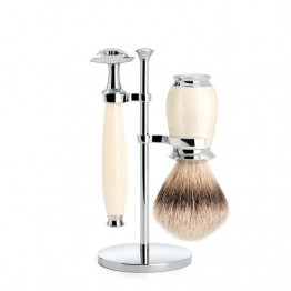 Purist 3 Piece Safety Razor Set in Ivory Resin