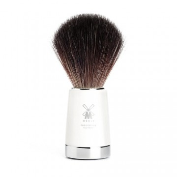 Shaving brush With Black Fibre and White Resin Handle